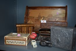 A selection of trinket cases and similar including Sorento book box and Arts and Crafts hand
