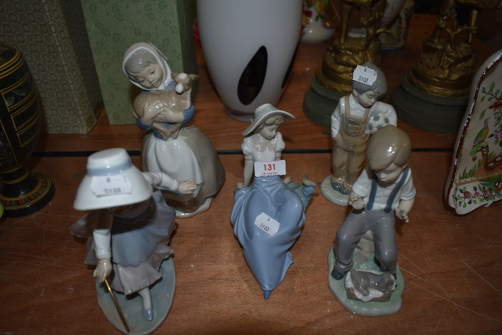 Five Nao Figurines, Girl with Hoop, Girl carrying Lamb, Girl Reclinging, Boy with Ball and Boy