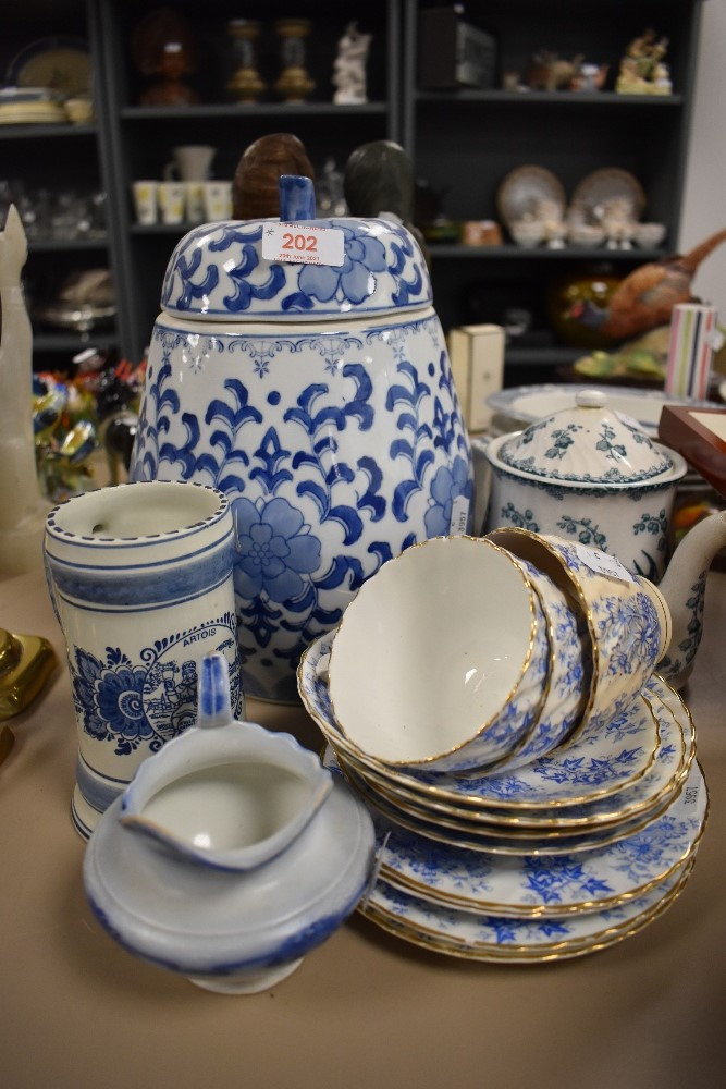 A selection of blue and white wear ceramics including large Chinese styled ginger jar and teacups