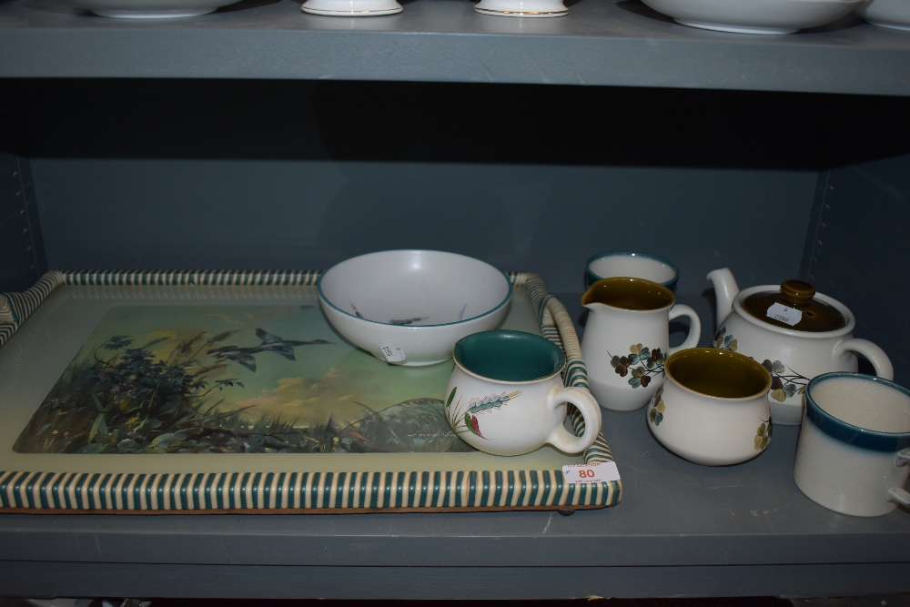 A selection of Denby and a vintage tray having flying duck scene after Vernnon Ward.