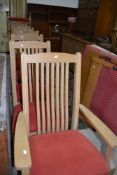 A set of eight (six plus two) American oak dining chairs, stamped Ethan Allen, distressed effect