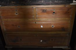 A Victorian stripped bedroom chest of two over two drawers