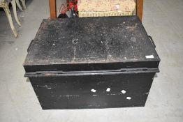 A vintage tin trunk/deed box