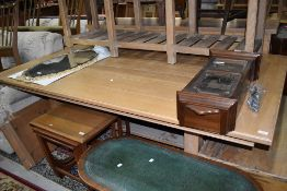 A large American oak extending dining table, possibly Ethan Allen, distressed finish