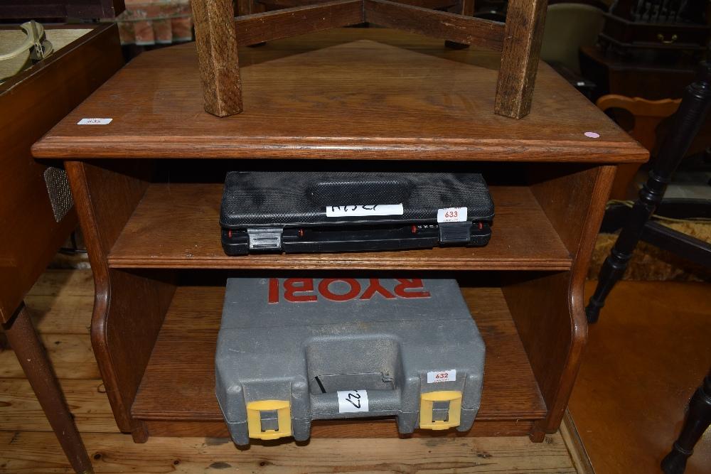 A golden oak corner TV or similar cabinet, compact size, width 66cm