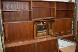 A mid 20th Century vintage part teak lounge unit, of Scandinavian style design, possibly Mobler,