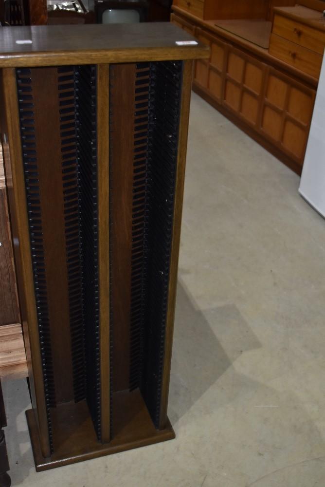 A modern dark oak CD rack