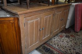 A large American oak sideboard, possibly Ethan Allen, distressed finish