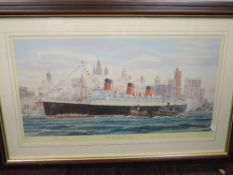 A Ltd Ed print, after S W Fisher, The Queen Mary at New York, signed and num 450/850, with extra