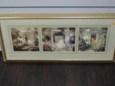 A print, triptych, house doors, 22 x 80cm, plus frame and glazed