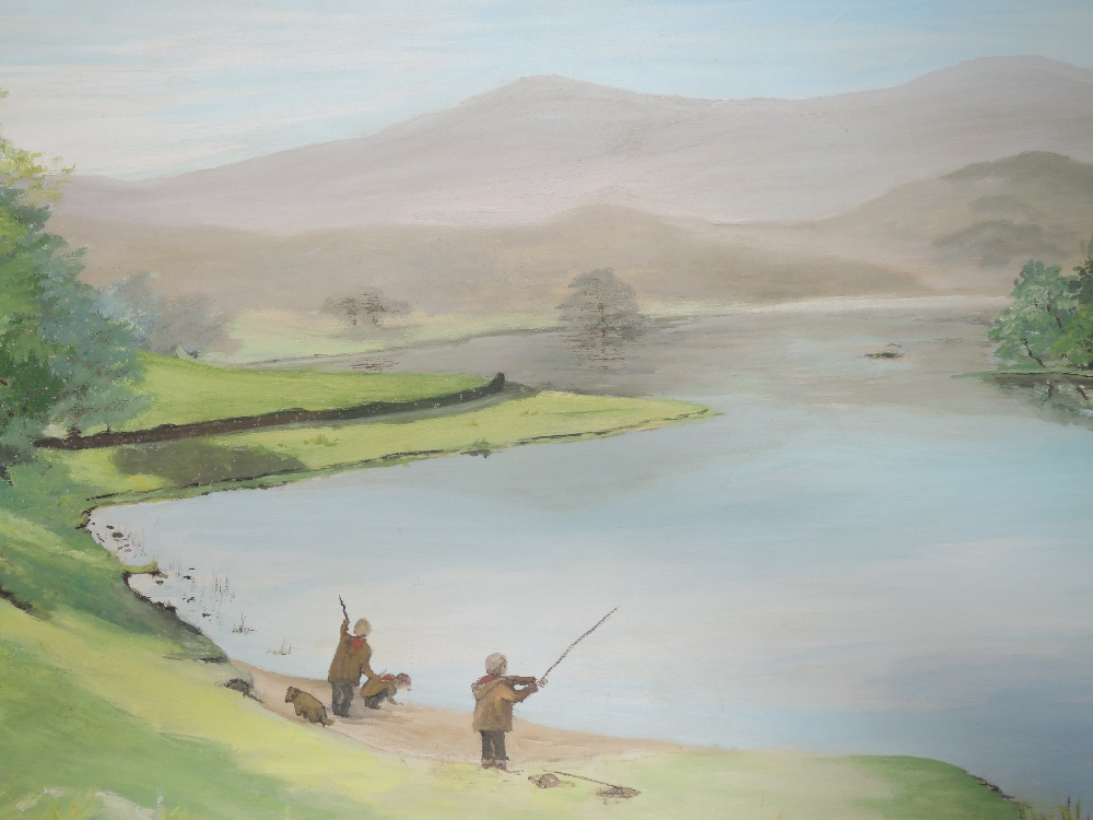 Three oil paintings on board, country landscape, W Sargeant, fishing lake, signed and autumnal - Image 2 of 3
