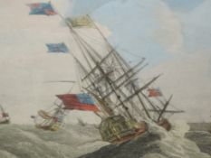 A pair of prints, galleons at sea, 25 x 37cm, plus frame and glazed, and an engraving, after