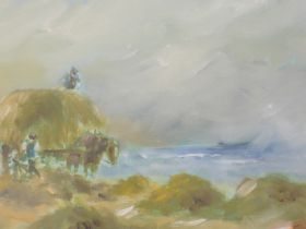 A pair of oil paintings, Ian Dunn, Haymaking near Derwentwater and Pulling the Boat out in a
