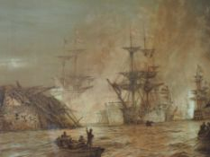 A print after Wyllie, Battle of The Nile, 1900, 60 x 100cm, framed and glazed