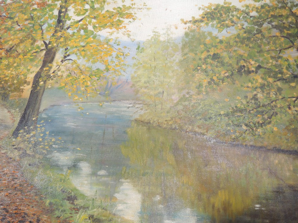 Three oil paintings on board, country landscape, W Sargeant, fishing lake, signed and autumnal - Image 3 of 3
