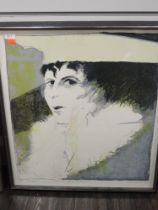 A print, lithograph, after Valerie Tarlton, Elle vous regarde froidement, numbered 3/7, signed and