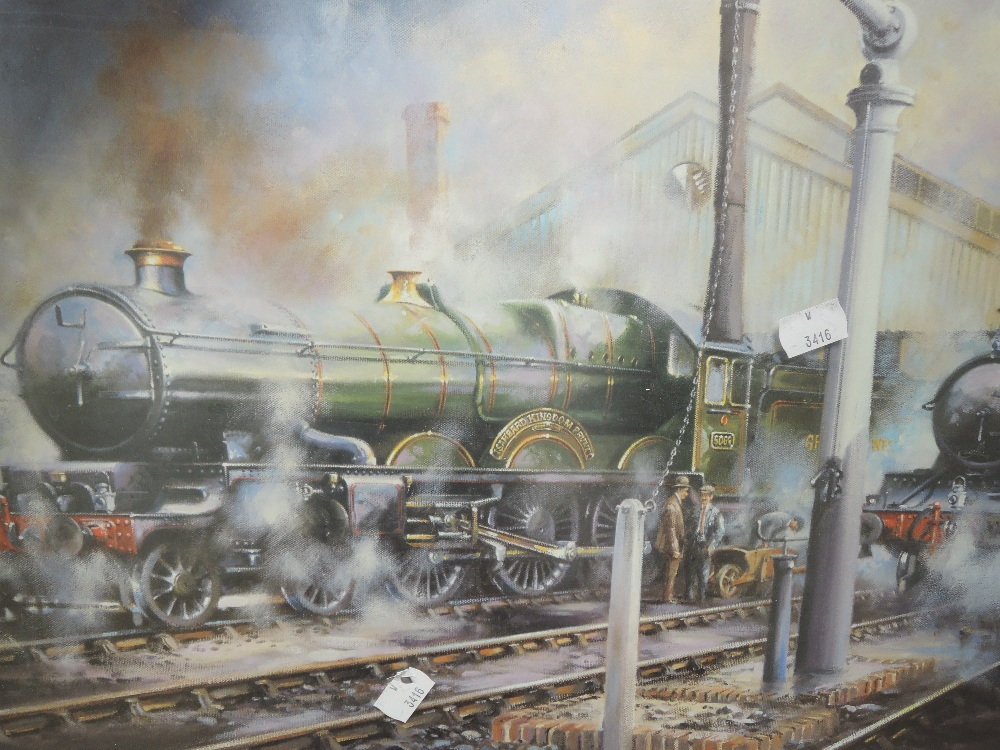 An oil painting on board, Davis, Tracy, 60 x 50cm, a print, Great Western, 40 x 55cm, plus frame and - Image 4 of 5