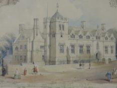 A Ltd Ed print, Lancaster Royal Grammar School, num 16/500, 29 x 40cm, plus frame and glazed