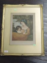 A mezzotint engraving, after Will Henderson, girls with rabbit, dated 1910, 33 x 25cm, plus frame