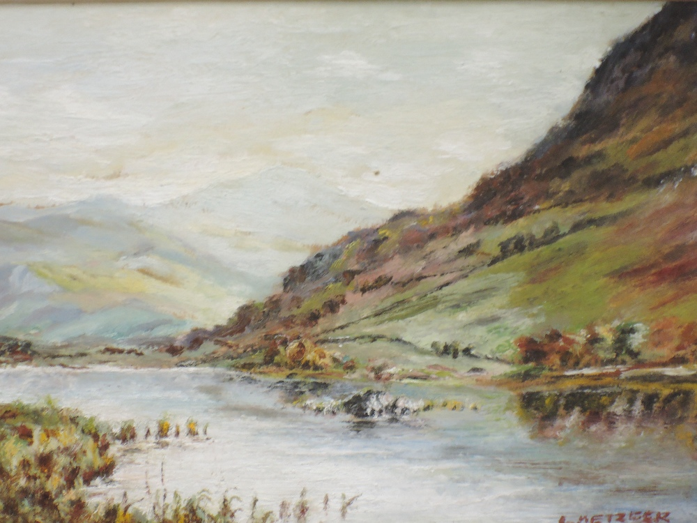 A pair of oil paintings, L Metzger, Lakes landscapes, signed and dated 1953/5, 12 x 17cm, plus frame - Image 2 of 3