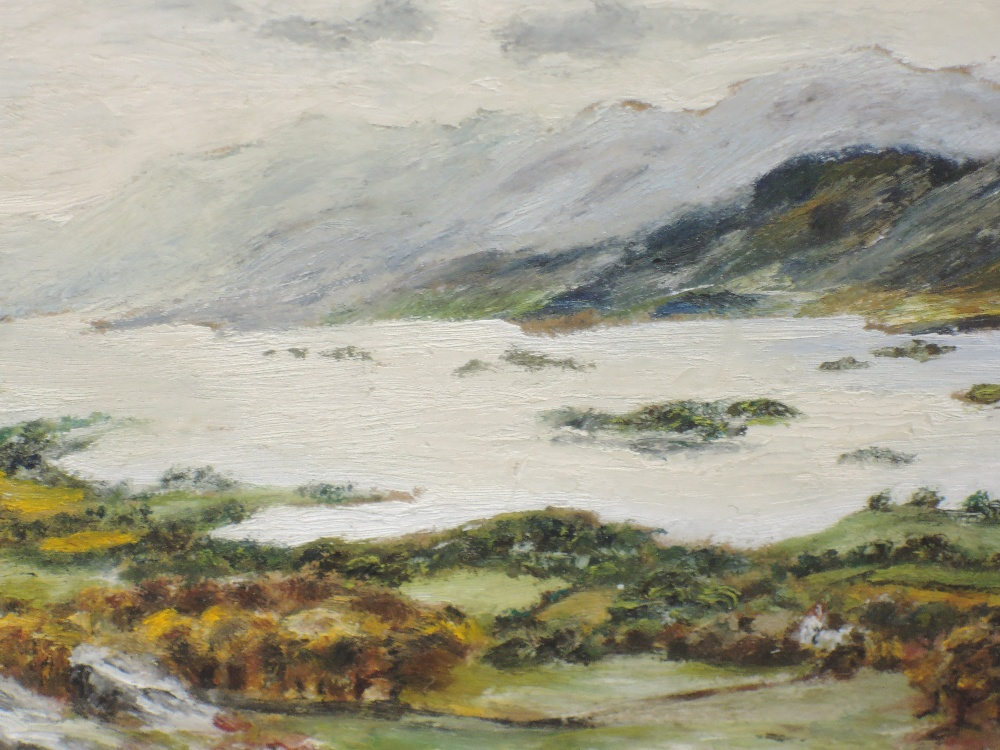 A pair of oil paintings, L Metzger, Lakes landscapes, signed and dated 1953/5, 12 x 17cm, plus frame - Image 3 of 3