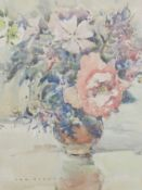 A watercolour, Tom Ogden, Pink Roses, signed and attributed verso, 33 x 23cm, plus frame and glazed