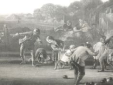 An engraving, The Bowlers, C19th, 38 x 75cm, plus frame and glazed