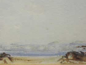Two watercolours, D Baird Murray, seascape with distant battleships, one signed, each 18 x 26,