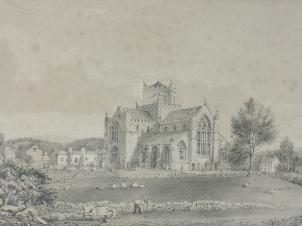An engraving, after Greenwood, Cartmel Priory, C19th, 23 x 32cm, plus frame and glazed, a print