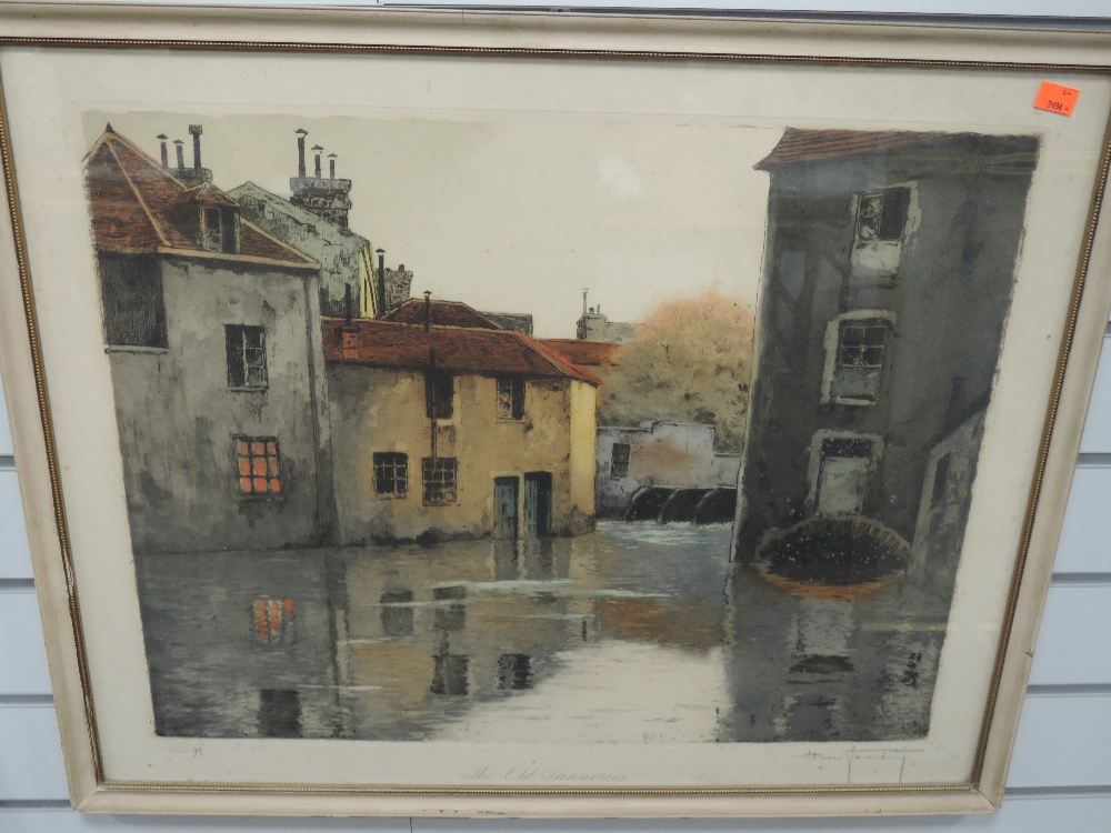 A print, after Henri Foundary, The Old Tanneries, number 99, signed, 54 x 68cm, plus frame and