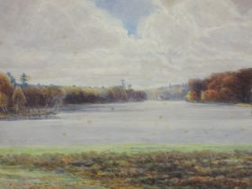 A watercolour, F Ogilby, lake landscape, indistinctly signed, and dated 1911, 25 x 37cm, plus