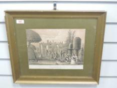 Three prints, Levens Hall, C19th, each 22 x 28cm, plus frame and glazed, and a print, Bailrigg House
