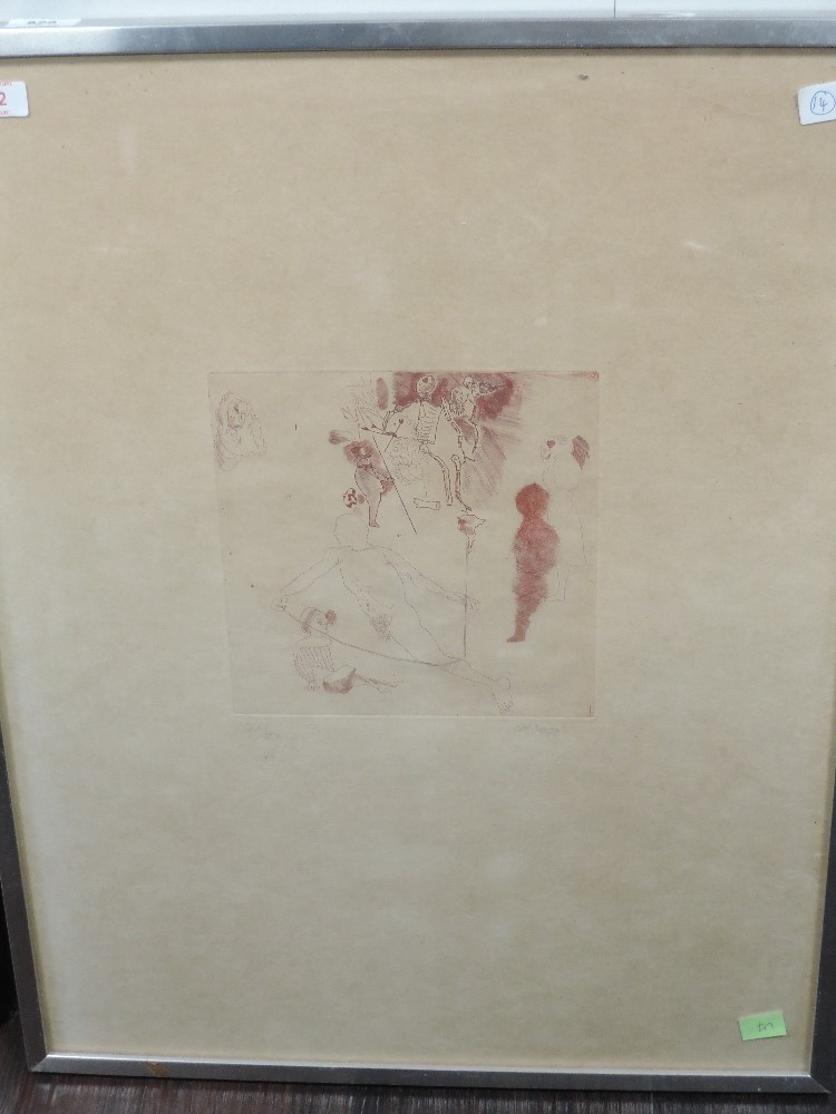 An etching, Astello/ Aruidio, abstract figures, indistinctly signed, and dated (19)73, and num 20/ - Image 2 of 2