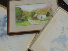 A selection of decorative pictures, inc a watercolour, Lomas, cottage, 22 x 36cm, plus frame and