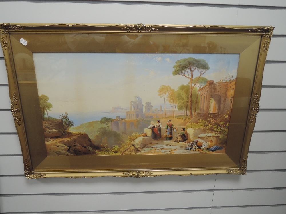 A print, after Thomas Leeson Rowbotham, Italian classical landscape, 40 x 74cm, plus frame and - Image 2 of 2