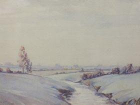 A watercolour, J Allen Hill, river landscape, signed, 20 x 27cm, plus frame and glazed