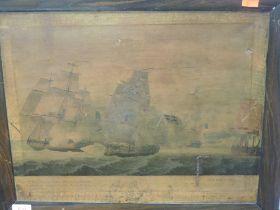 A print, The St Fiorenzo, galleon C19th, 34 x 44cm, plus frame