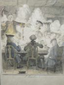 An engraving, after Leich, Savage introduced to Lovell at the Club, C19th, 16 x 10cm, plus frame and