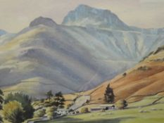A watercolour, P H Marriner, Lakeland landscape, signed and attributed verso, 33 x 47cm, plus