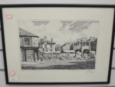 A print, after Geoffrey H Pooley, Market Day at Kirkby Lonsdale, signed, 24 x 36cm, plus frame and