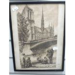 An etching, after Dallemagne, Parisian Scene, 35 x 20cm, plus frame and glazed, and a print, style