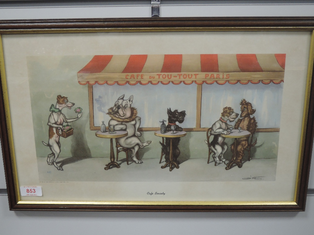 A print, after O'Klein, Cafe Society, dog interest, 25 x 42cm, plus frame and glazed