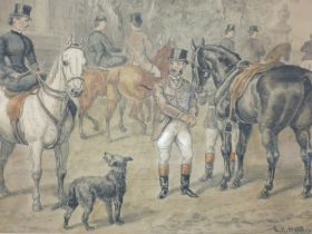 A watercolour, E B Hererte, hunt gathering, signed and dated 1885, 17 x 23cm, plus frame and glazed