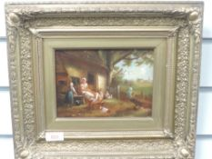An oil painting, Marsland, cottage family, C19th, signed, 14 x 19cm, plus frame