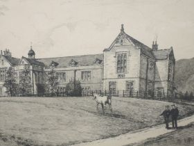Four etchings, after Burrow, Classrooms and School, 20 x 28cm, and cathedral, 18 x 23cm, Sedbergh