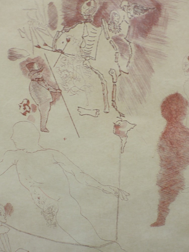 An etching, Astello/ Aruidio, abstract figures, indistinctly signed, and dated (19)73, and num 20/