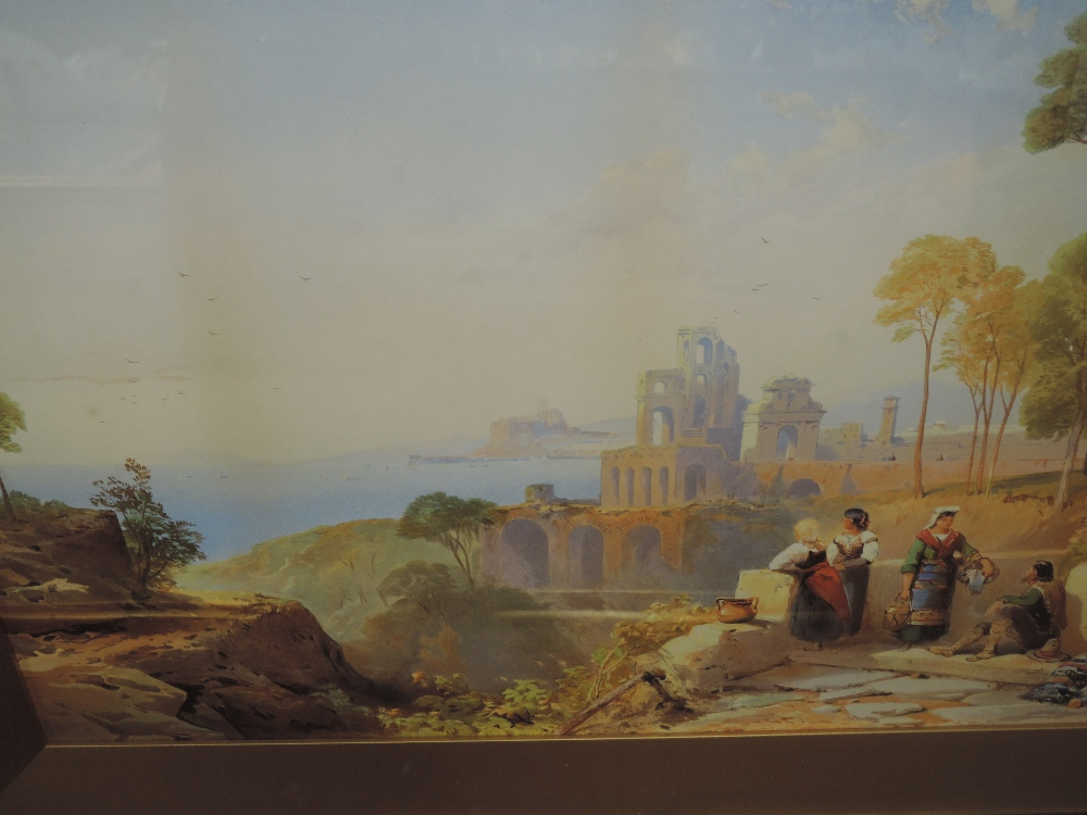 A print, after Thomas Leeson Rowbotham, Italian classical landscape, 40 x 74cm, plus frame and
