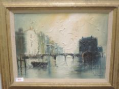 An oil painting, John Bampfield, river bridge, signed, 29 x 39cm, plus frame and glazed