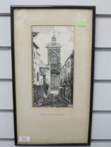 A pen and ink sketch, Dora Fawcett, Drum Lane Northampton, 1890's, 25 x 12cm, plus frame and glazed