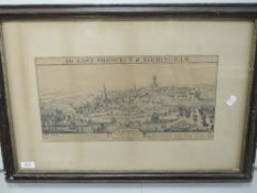 A print, The East Prospect of Birmingham, C19th, 20 x 42cm, plus frame and glazed
